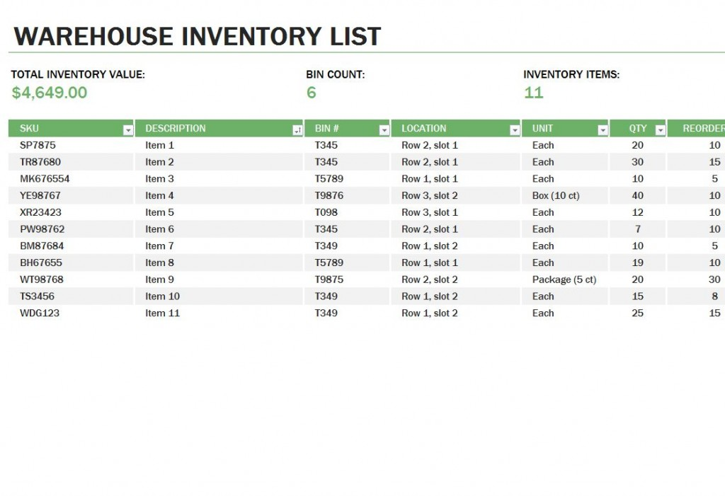 Free Warehouse Inventory