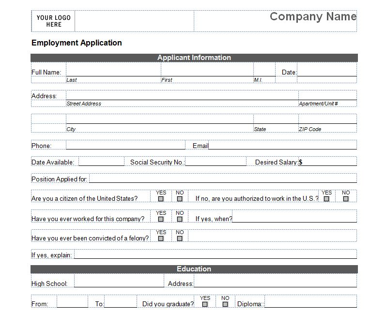 Basic Job Application – Employee Application Forms