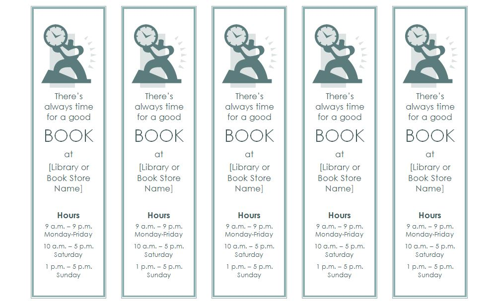 blank bookmark template word .