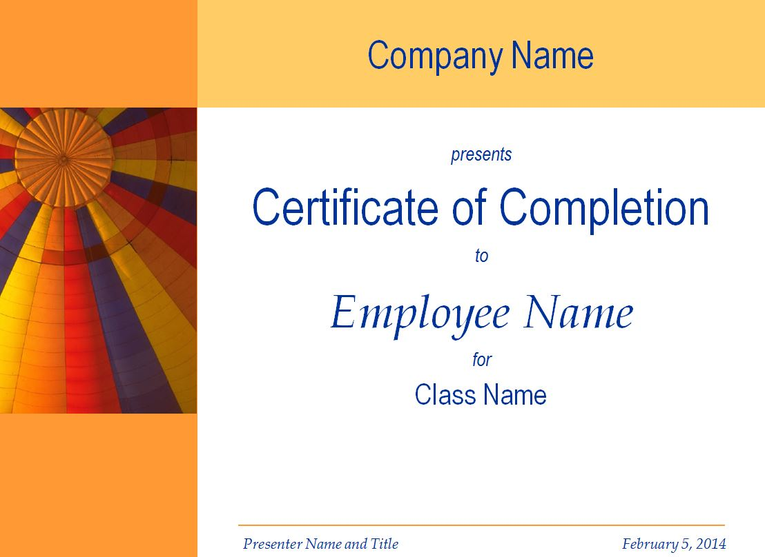 free training completion certificate templates - Romeo.landinez.co