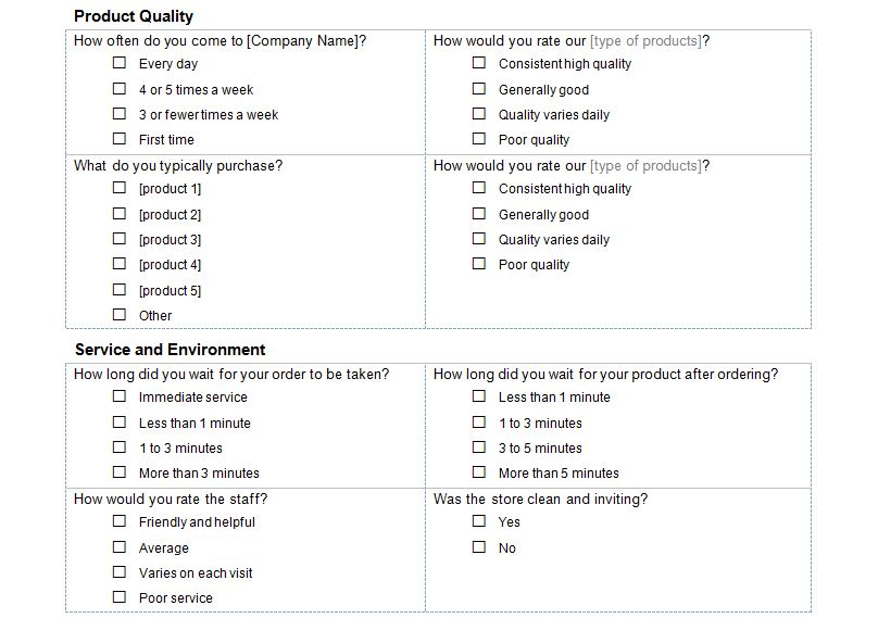 quality survey questions