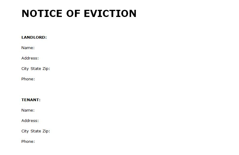 Eviction Notice Form  WowcircleTk
