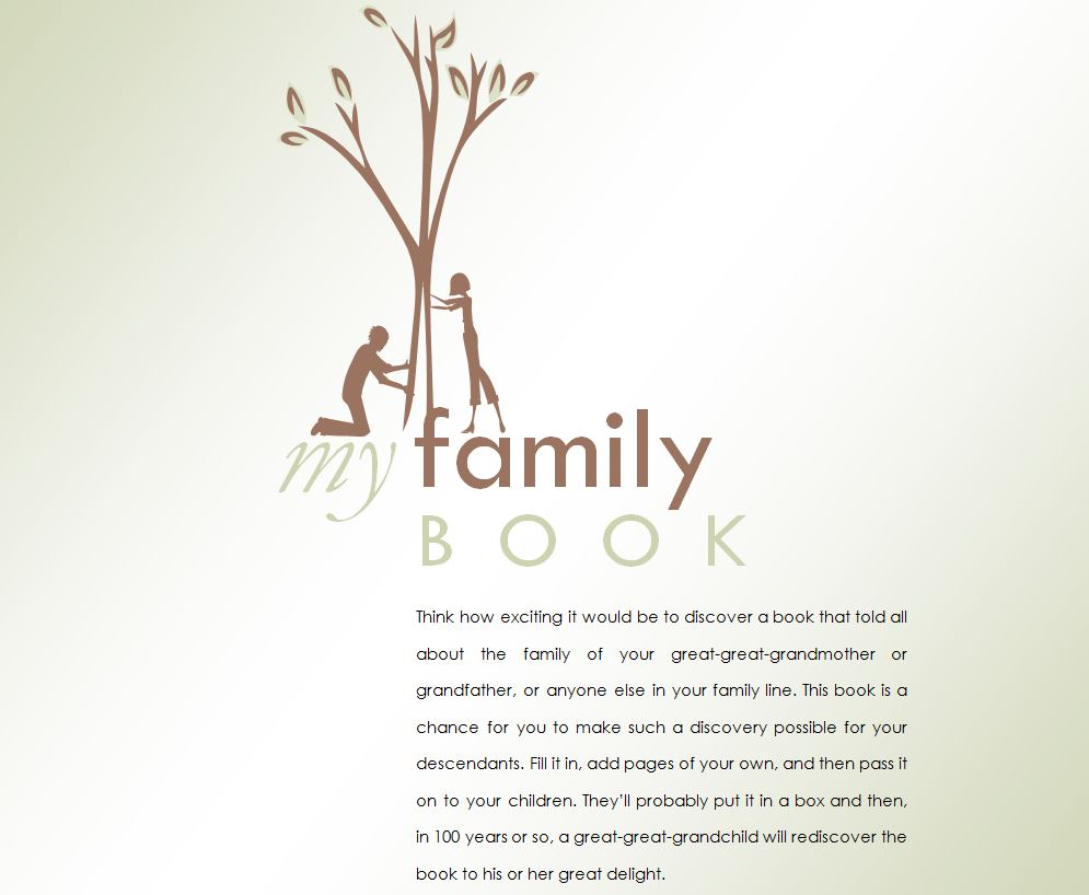 Family history book family history book template for Ancestry book templates