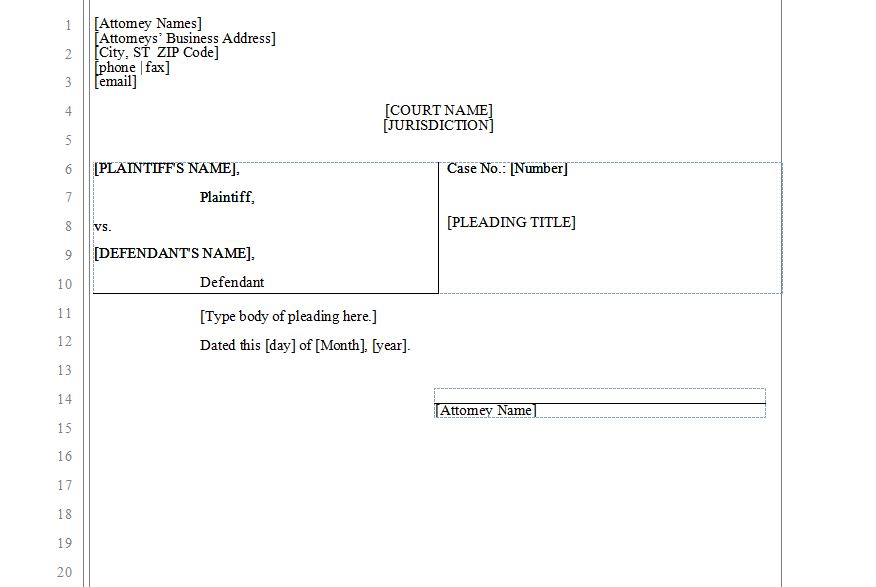 Free Legal Pleading Template