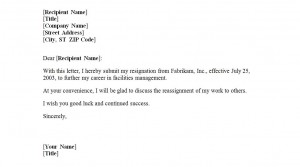 Free Letter of Resignation Template
