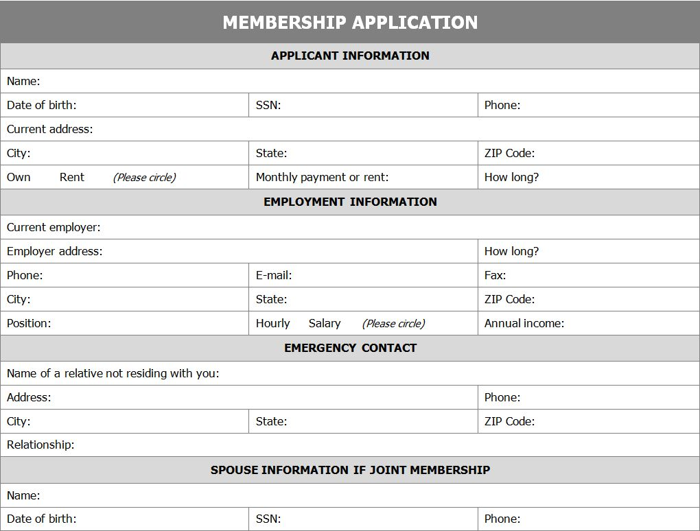 Membership Application Form – Club Membership Form Template Word