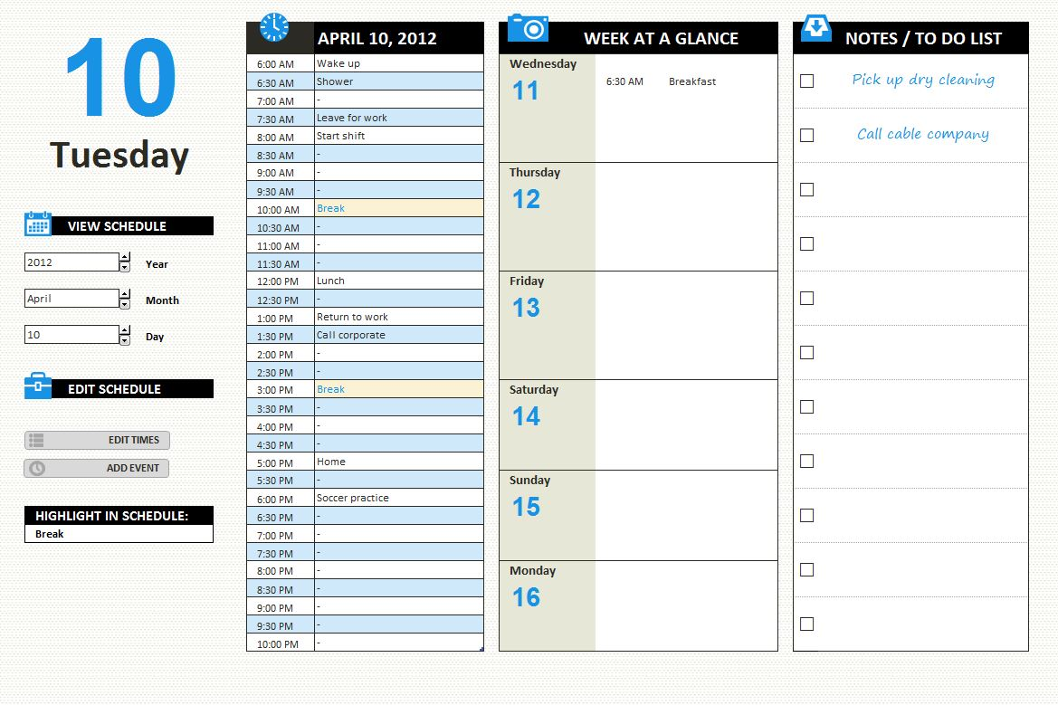 Pin 2014 Daily Planner Template on Pinterest