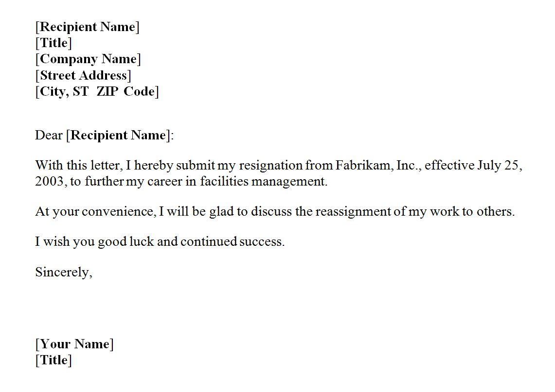 Sample Letter Of Resignation From Job Resign Letter Format