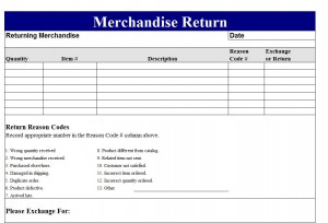 Return Merchandise Authorization Form