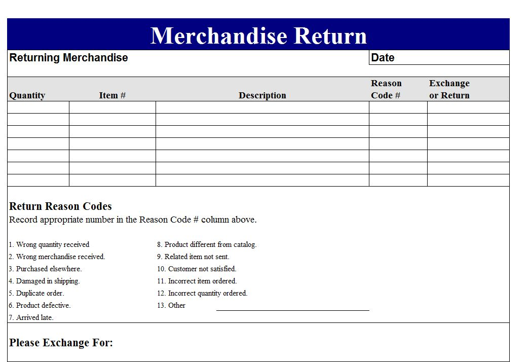 Return Merchandise Authorization Form Template