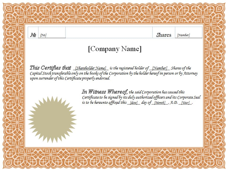 Stock certificate stock certificate template for Share certificate template companies house