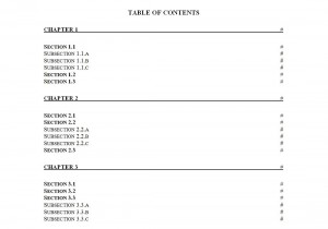 Free Table of Contents Template