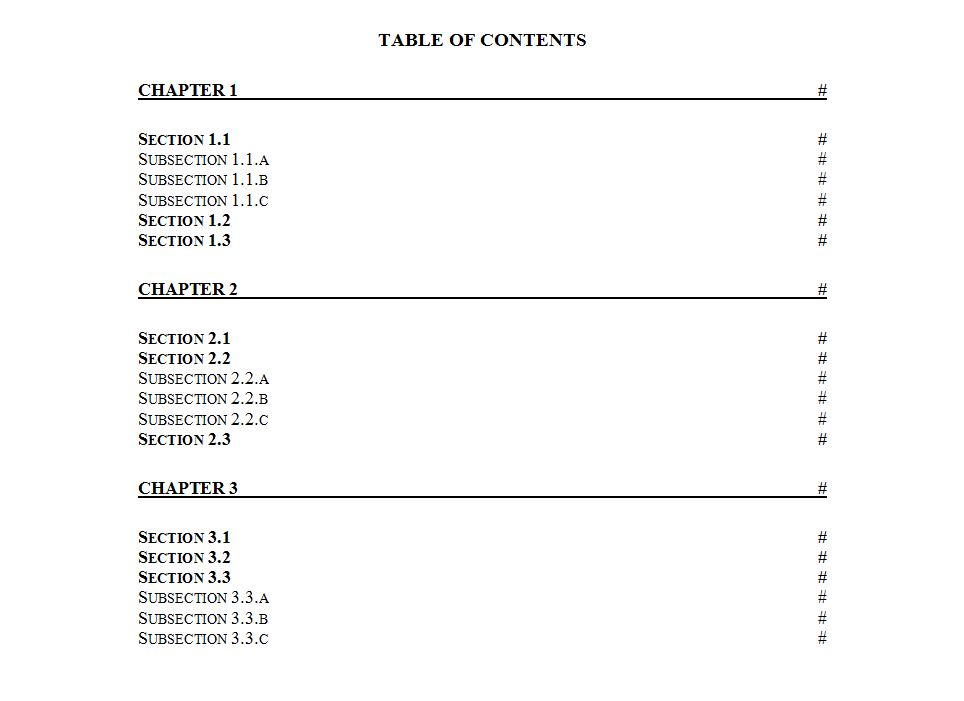 table of contents template word table of contents word