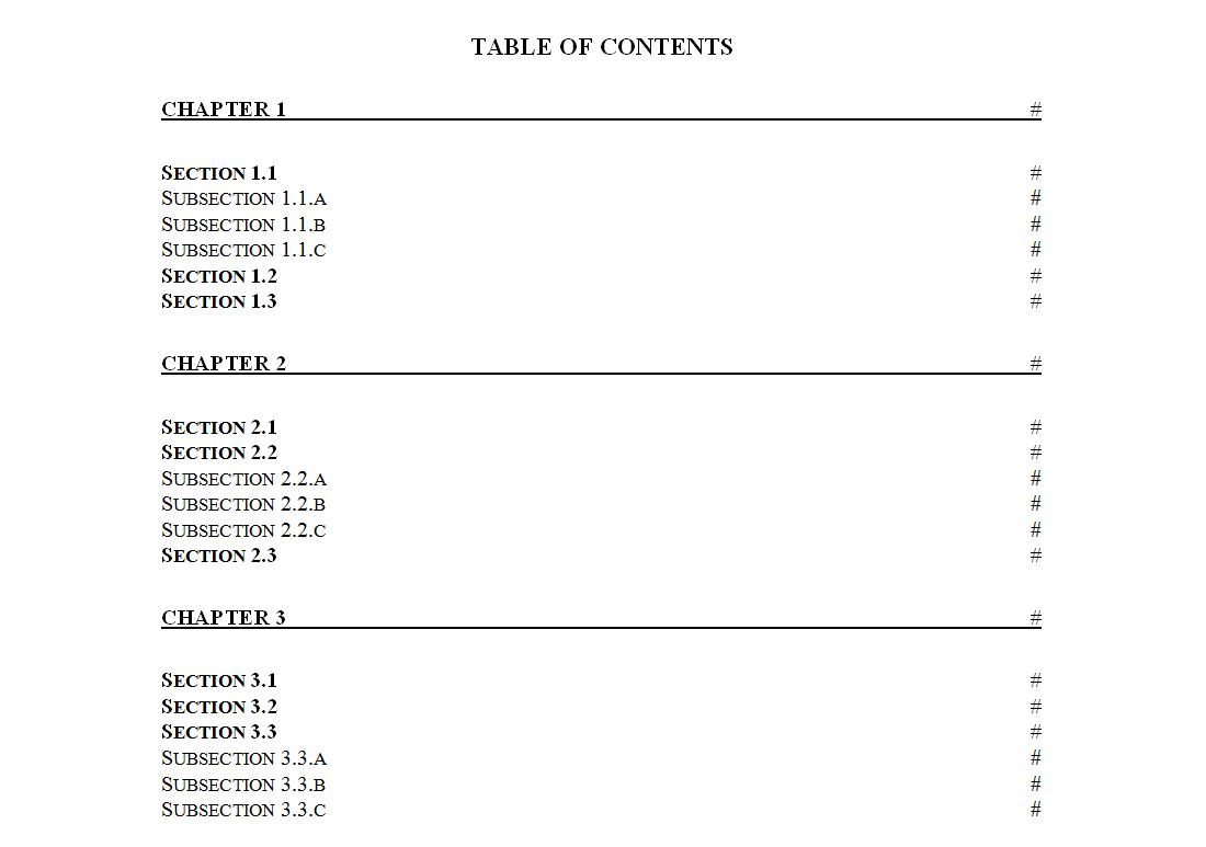 table of contents page template table of contents page template tk
