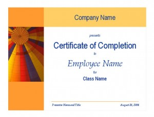 Training Completion Certificate