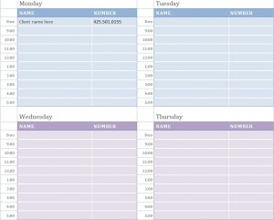 weekly appointment calendar weekly appointment calendar template