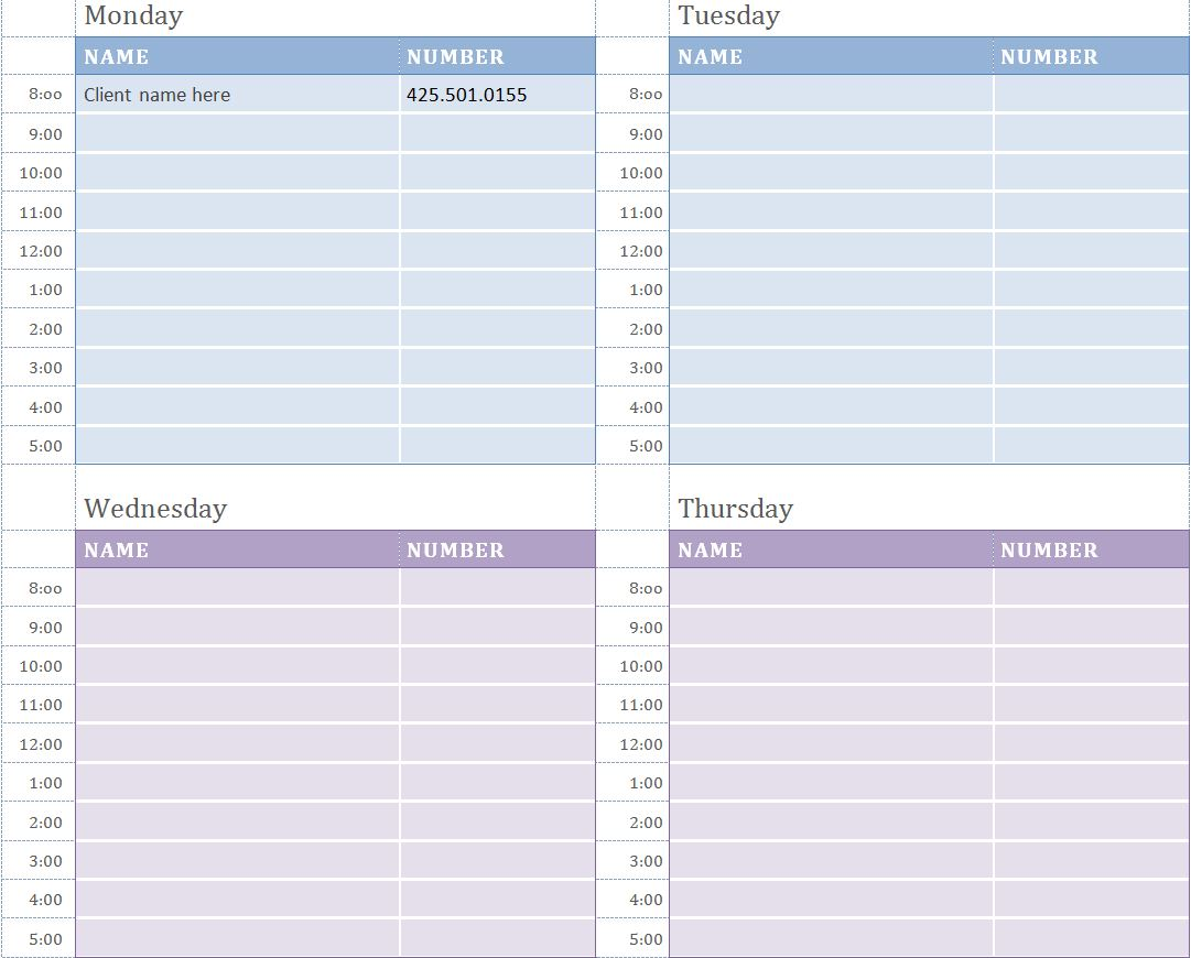 Weekly Appointment Calendar | Weekly Appointment Calendar Template