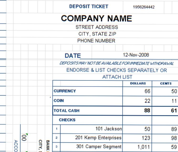 Deposit ticket template excel deposit slip template for Checking deposit slip template