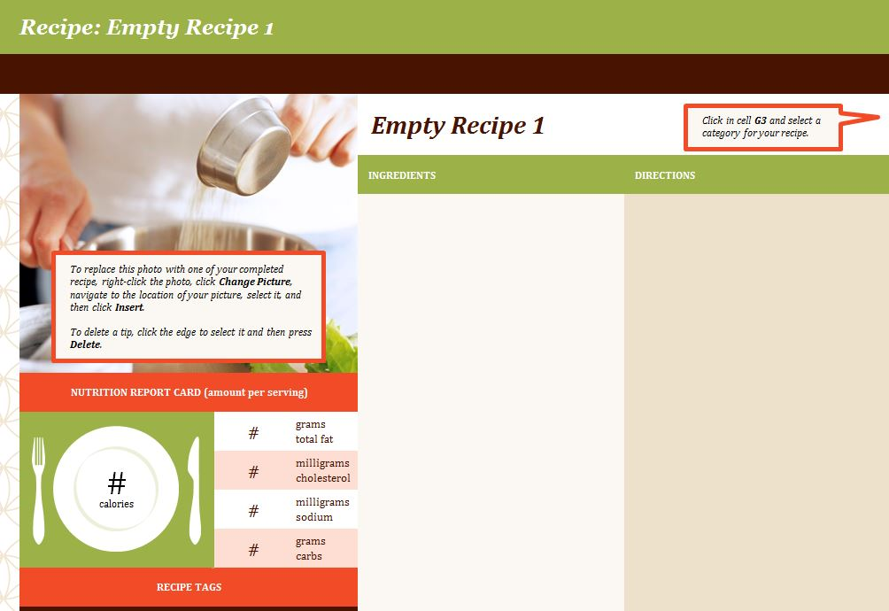 Recipe Template from Microsoft