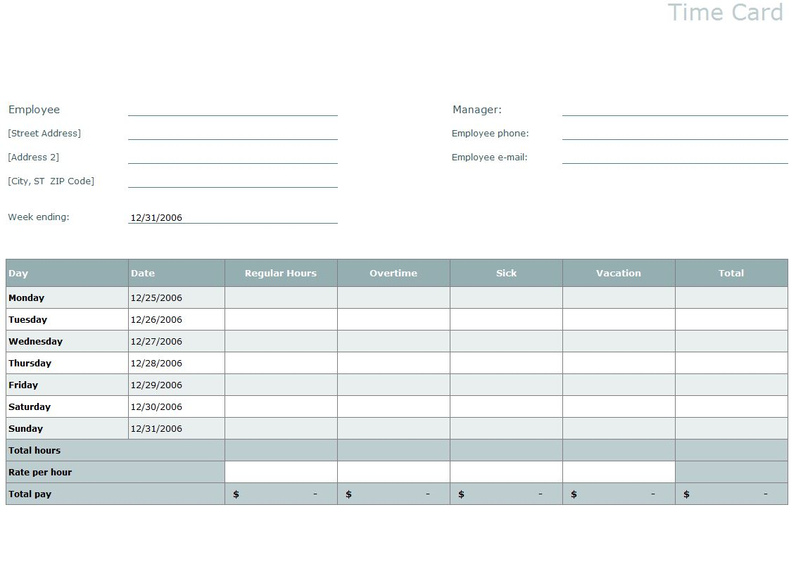 Time Card Template Excel Time Card Template - Excel business card template