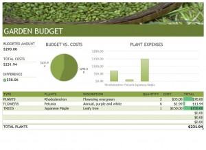 Microsoft's Gardening Budget Template