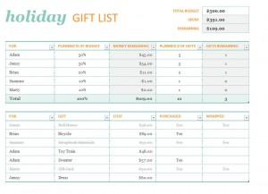 Microsoft's Holiday Gift List Template