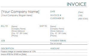 Finance Charge Invoice