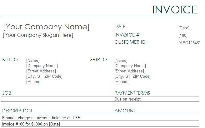 invoicing templates
