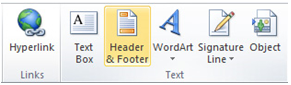 Inserting a header and footer in Excel