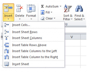 Insert a Row or Column in a Table