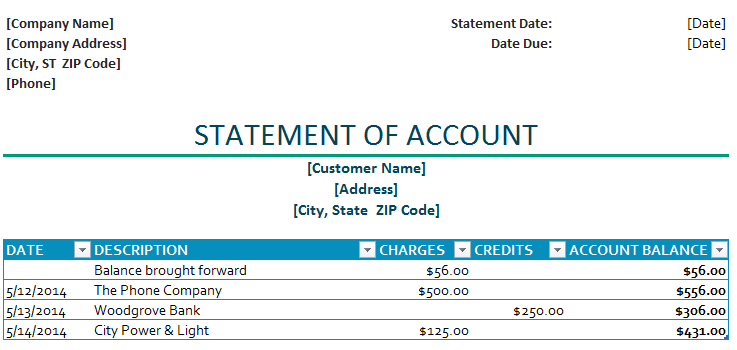 Business Templates. Statement Of Account Template
