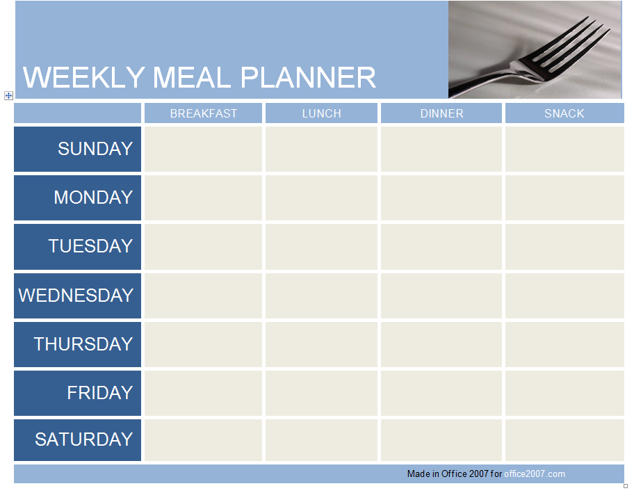Weekly meal planner template for Free weekly meal planner template
