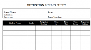 Detention Sign-In Template