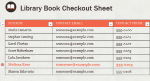 Library Book Checkout Template