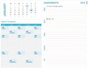 student-calendar-template