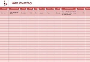 wine inventory spreadsheet