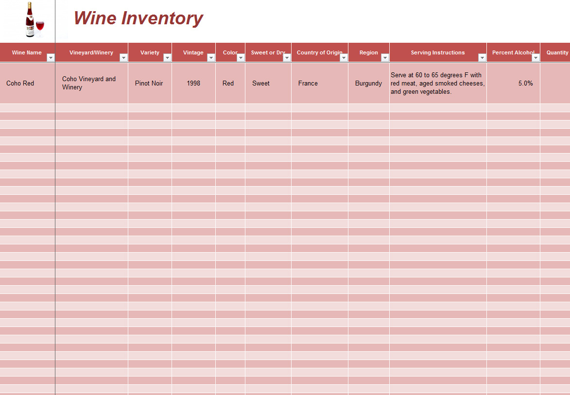 Excel Wine Inventory Template