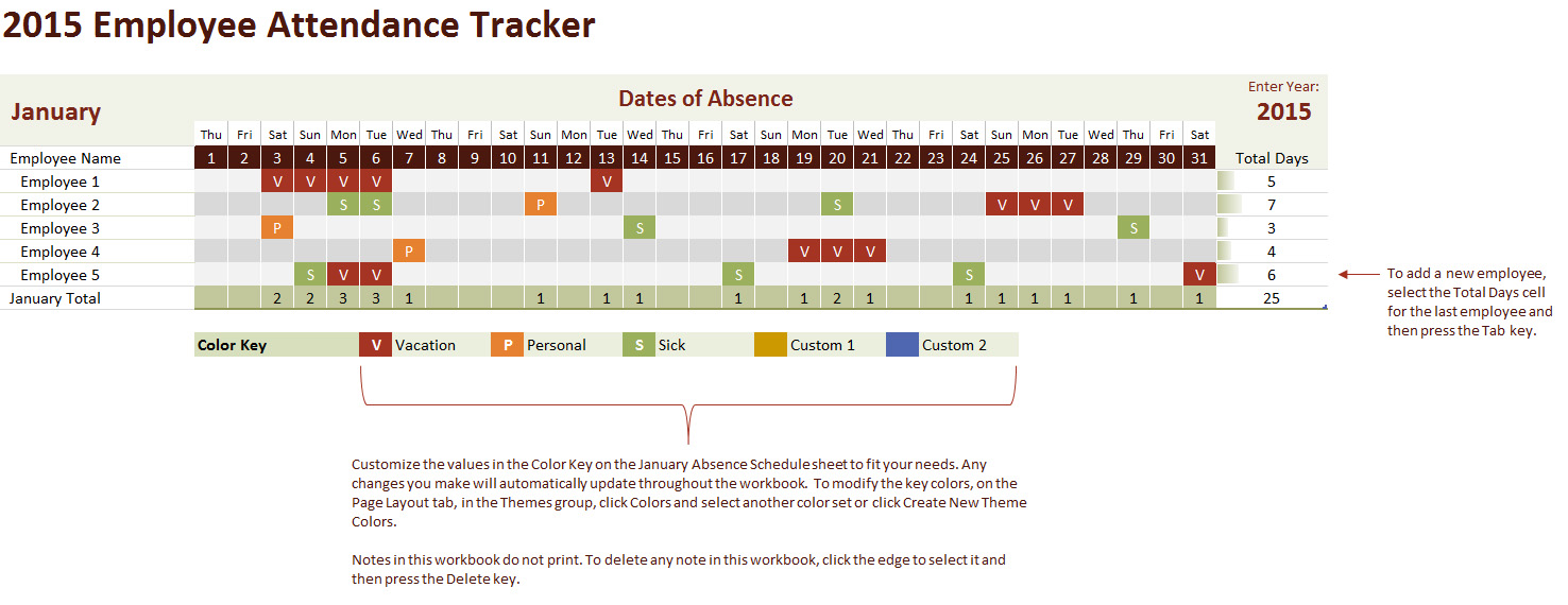2015 Employee Attendance Tracking Calendar – Sample Attendance Tracking