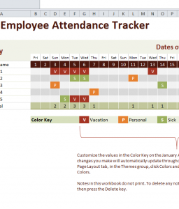2016 Employee Attendance Tracker - My Excel Templates
