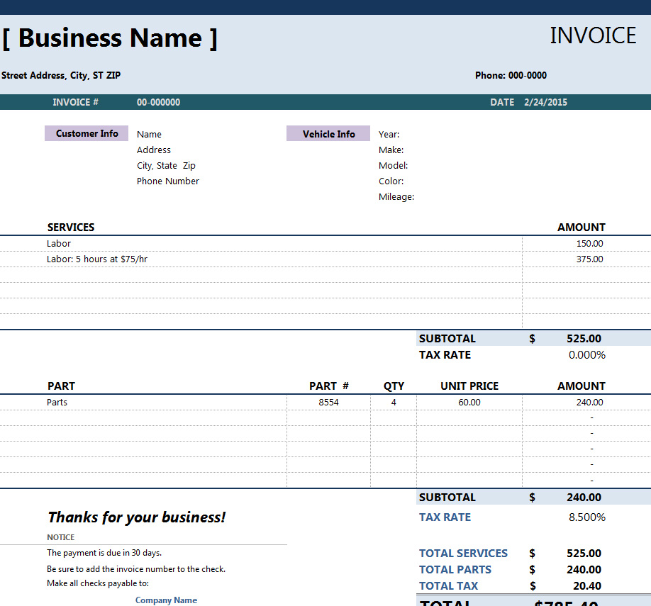 Auto Repair Invoice Template Trattorialeondoro - Auto shop invoice software
