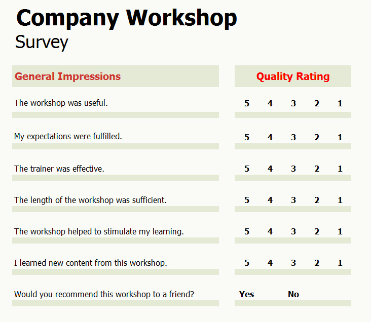 company workshop survey