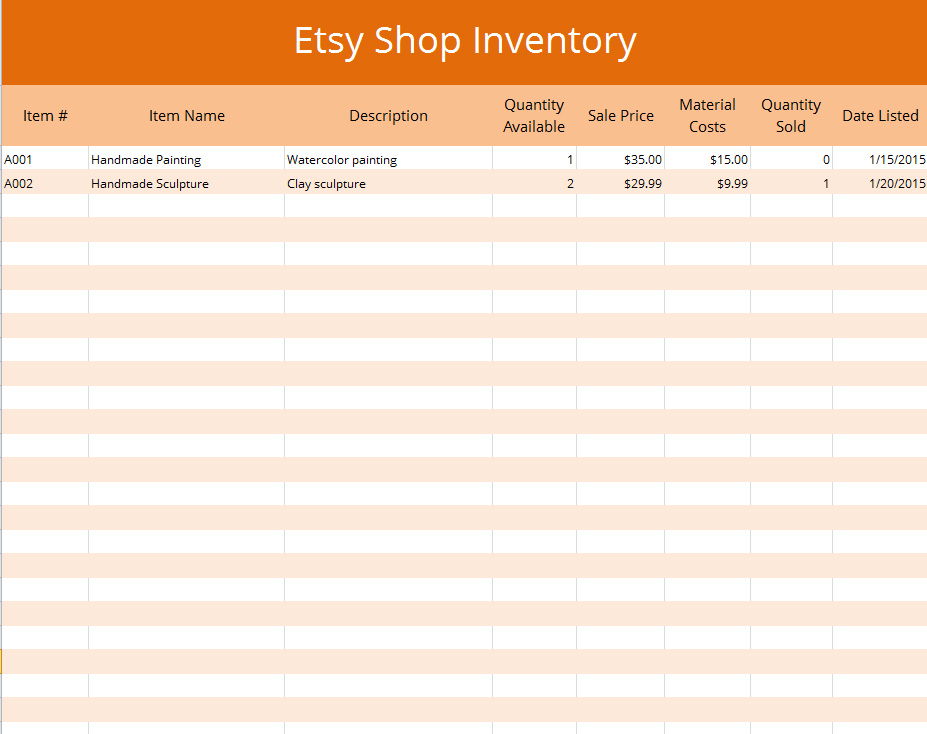 Jewelry inventory spreadsheet template pictures to pin on for Etsy shop policies template