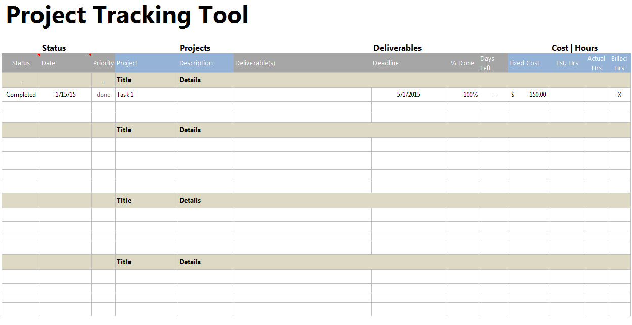 Project Tracker Tool – Project Tracking Template