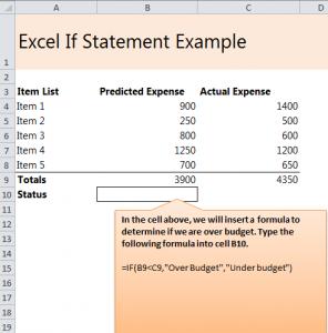 Excel If Statement