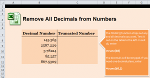 Remove Decimals from Excel