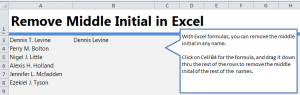 Remove Middle Name in Excel