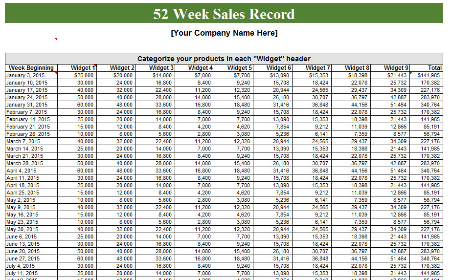 52 Week Sales Log - My Excel Templates