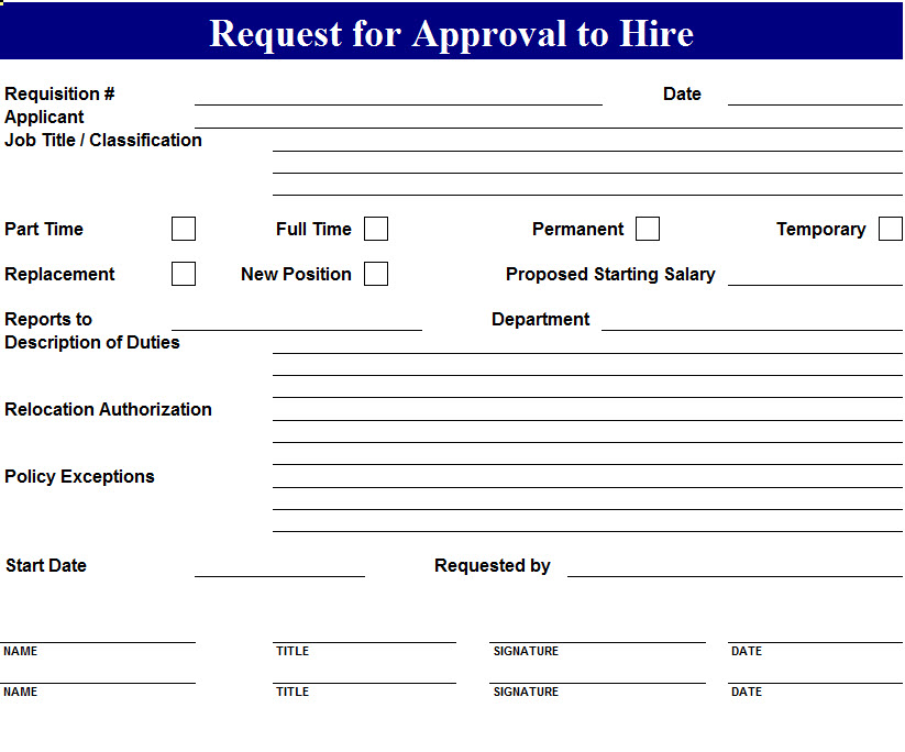 Approval to Hire Request Template - My Excel Templates