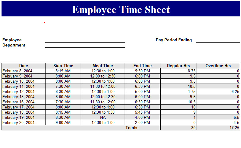 employee time sheet template