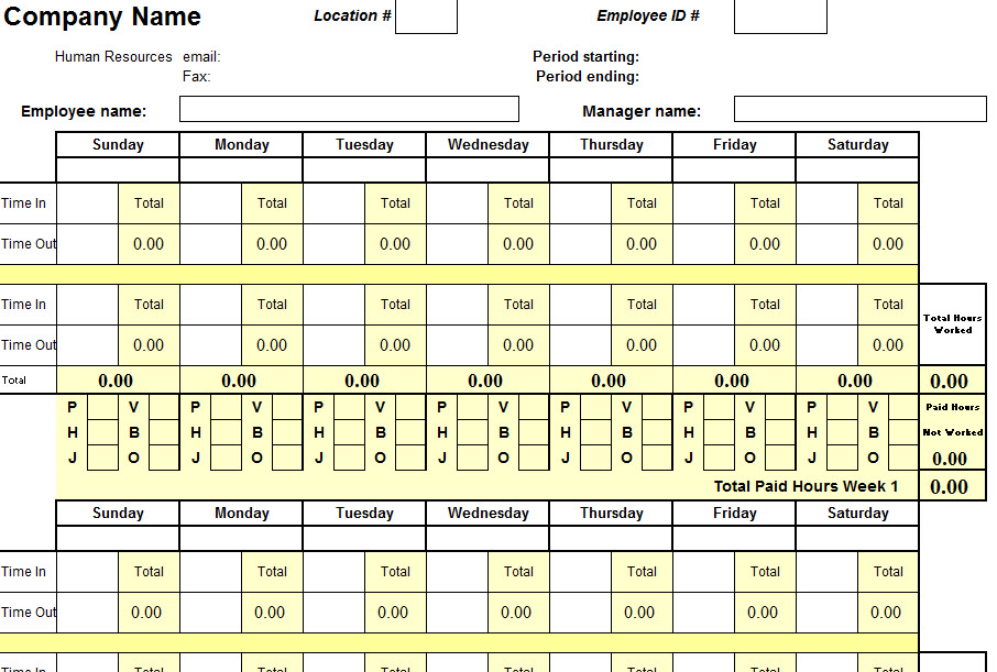 Biweekly Time Sheet Template - My Excel Templates